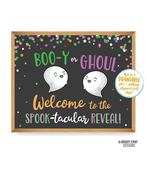 Halloween Gender Reveal Signs Old Wives Tales Sign Gender Voting Poster Ghost Gender Reveal Welcome Booy or Ghoul Gender Reveal Decoration