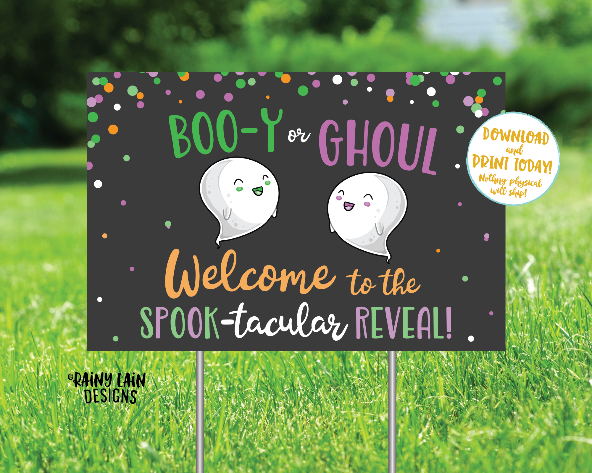 Halloween Gender Reveal Yard Sign, Spook-tacular Gender Reveal, Ghost Gender Reveal Welcome Yard Sign Gender Reveal Sign, Booy or Ghoul Sign