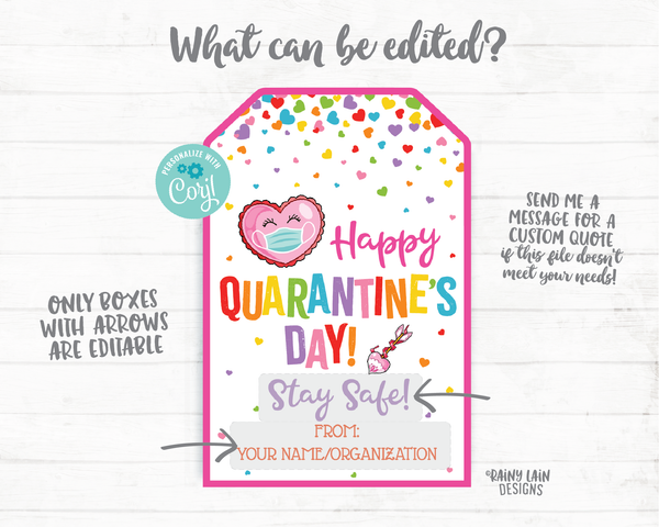 Happy Quarantine's Day Tag Valentine's Day 2021 Gift Tag Face Mask Tag Friend Co-Worker Staff Teacher Mask Tag Kids Valentine Printable