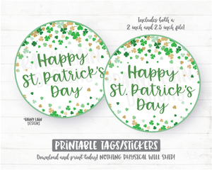 Happy St Patrick's Day Tag, Printable Cookie Tag, Round Tag, 2 inch circle tag, Shamrocks Cookie Card Lucky Charm Instant Download Bakery - St Patrick's Day Cookie Packaging