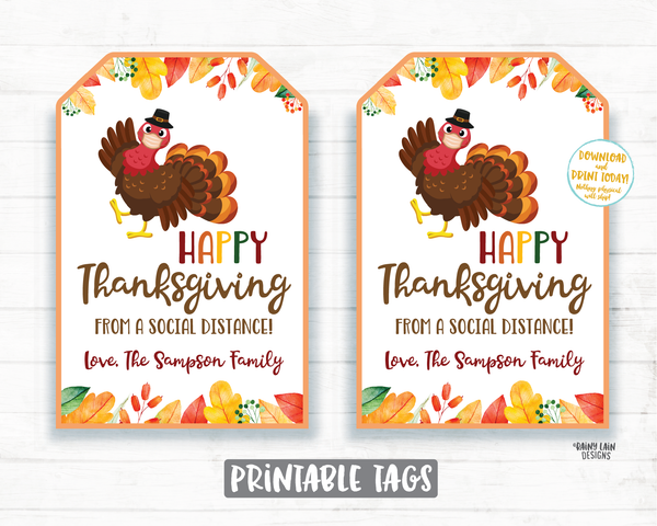 Happy Thanksgiving from a Social Distance Tag Thanksgiving 2020 Tag Face Mask Gift Tag Employee Appreciation Company Essential Staff Teacher