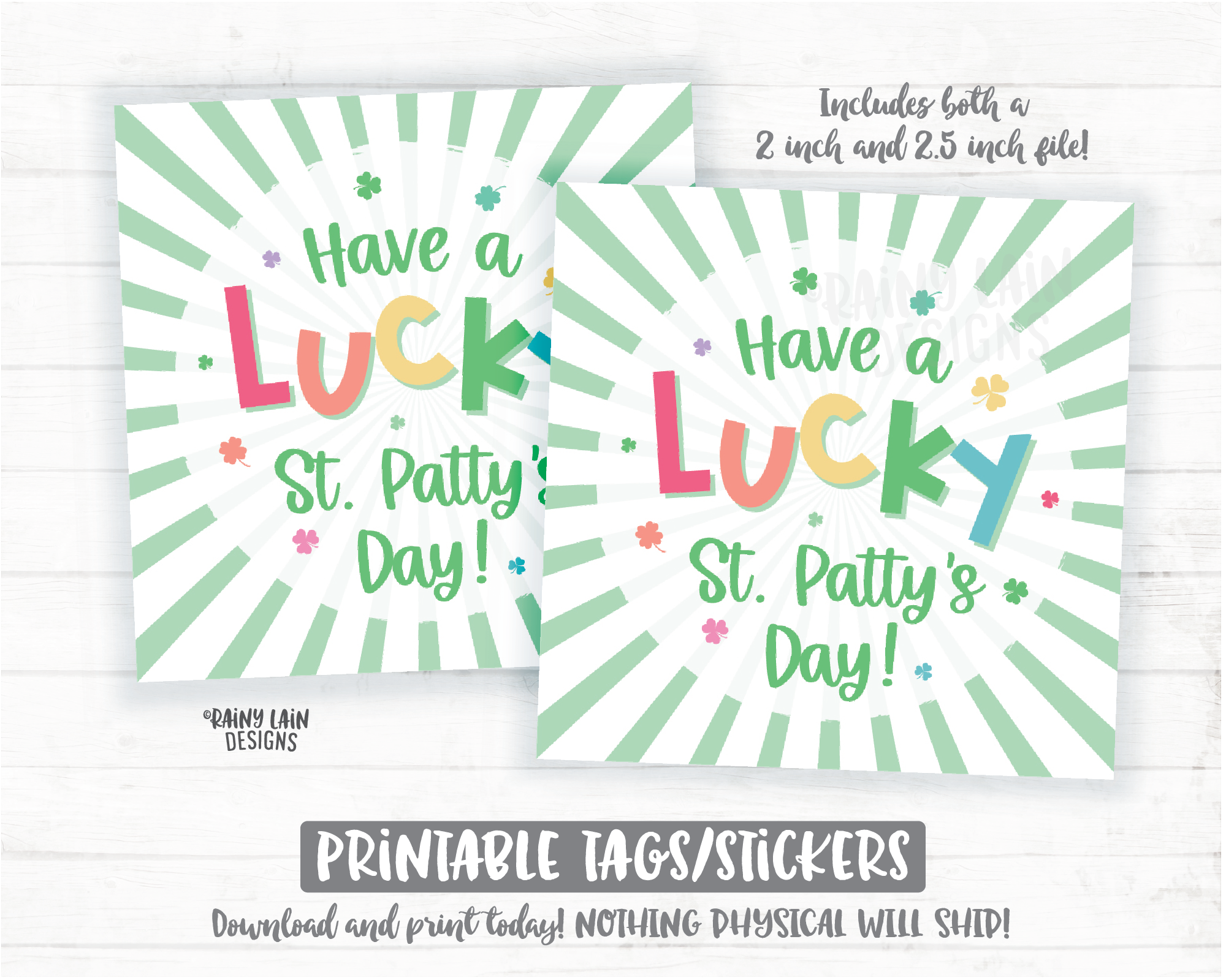 Have a Lucky St Patty's Day Tag St Patrick's Day Lucky Charm Square Cookie Rainbow Shamrocks Printable Cookie Card Instant Download Bakery - St Patrick's Day Cookie Packaging