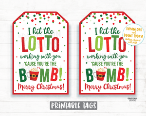 I hit the lotto working with you you're the bomb tags Lottery Ticket Hot Cocoa Bomb Chocolate Bomb Christmas 2020 Funny Co-Worker Gift Ideas