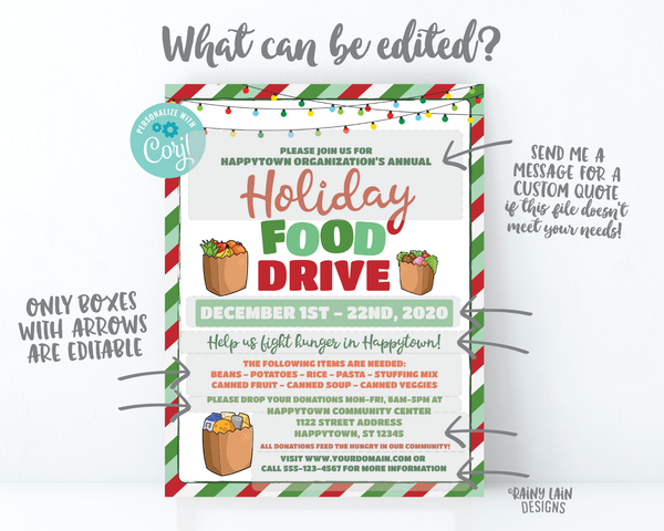 Holiday Food Drive Flyer, Christmas Food Drive, Winter Food Drive, Hunger Drive Flier, Invitation Information Card Digital Flyer Editable