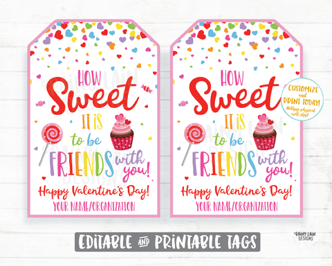 How sweet it is to be friends with you Valentine Treat Sucker Lollipop Candy Donut Cupcake Printable Kids Valentine Tag Preschool Classroom