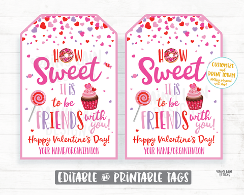How sweet it is to be friends with you Valentine Treat Candy Donut Cupcake Sucker Lollipop Preschool Classroom Printable Kids Valentine Tag