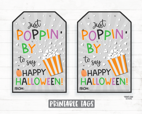 Popcorn Thank You Tag just poppin by to say happy halloween popcorn tag Just Poppin By Tag Popping by teacher, staff, employee appreciation
