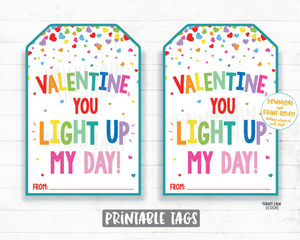 You light up my day Finger lights Valentine Tag, Glow Stick, Lite, Glow bracelet, Preschool Valentines Classroom Printable Valentine Tags