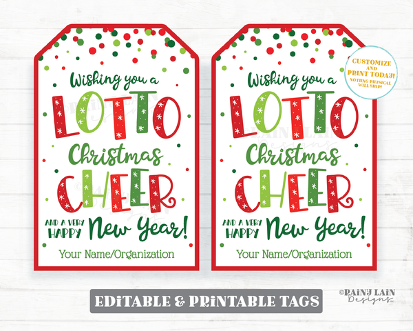 Christmas Lotto Tags Wishing you a Lotto Cheer and a Happy New Year Lottery Holiday Gift Tag Staff Appreciation Friend Co-Worker Teacher