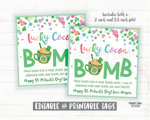 St Patrick's Day Hot Chocolate Bomb Tags, Lucky Cocoa Bomb Tags, Rainbow Hot Cocoa Bomb Tags Printables Bakery Labels Cookie Tag Cookie Card