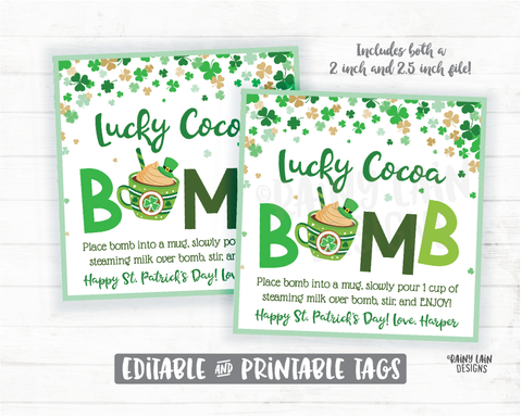 Lucky Cocoa Bomb Tags, St Patrick's Day Hot Chocolate Bomb Tags, Green Hot Cocoa Bomb Tags, Magically St Patty's Delicious Labels Cookie Tag