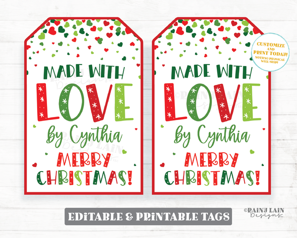 Made with Love Tags, Christmas Gift Tags, Homemade Gift, Baked Gift, Cookies, Child Gift, Baked, Handmade, Merry Christmas Holiday Gift Tags