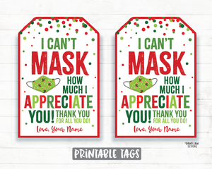 Can't Mask How Much We Appreciate You Face Mask Gift Tag Christmas Tags Company Essential Staff Teacher Mask Tag Employee Appreciation Tag