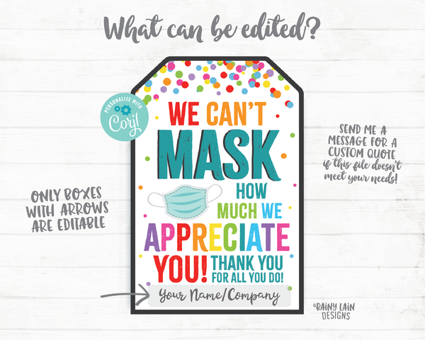 Can't Mask How Much we Appreciate You Face Mask Gift Tag Mask Tag Employee Appreciation Tag Company Frontline Essential Worker Staff Teacher