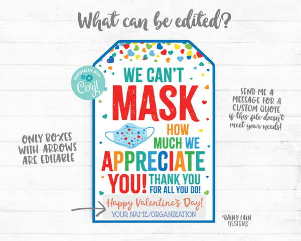 Can't Mask How Much We Appreciate You Face Mask Gift Tag Valentine's Day Tags Essential Staff Teacher Mask Tag Employee Appreciation Company