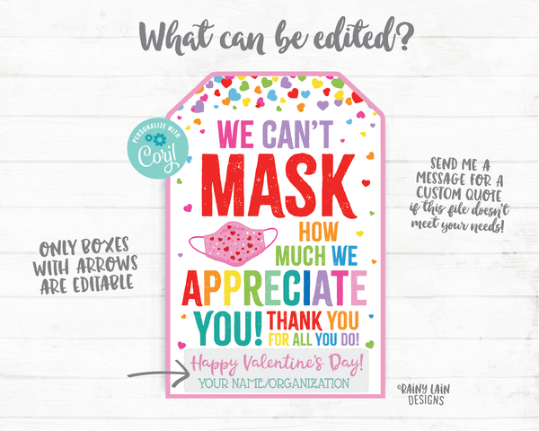Can't Mask How Much We Appreciate You Face Mask Gift Tag Valentine's Day Tags Employee Appreciation Company Essential Staff Teacher Mask Tag