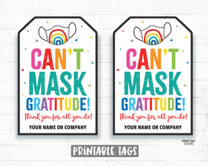 Can't Mask Gratitude Face Mask Gift Tag Mask Tag Employee Appreciation Tag Company Frontline Essential Worker Staff Teacher