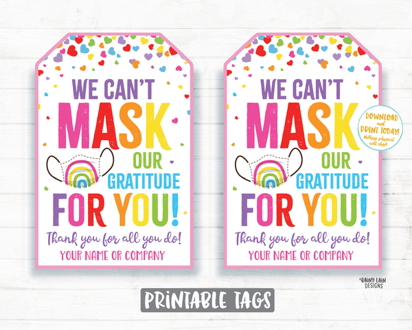 Face Mask Gift Tag, Can't Mask our Gratitude Mask Tag, Employee Appreciation Tag Company Frontline Essential Worker Staff Corporate Teacher