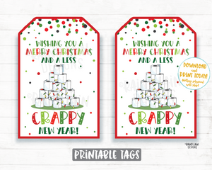 Merry Christmas Less Crappy New Year Christmas Toilet Paper Tags Christmas 2020 Gift Ideas Gift Card Holder Funny Neighbor Friend Co-Worker