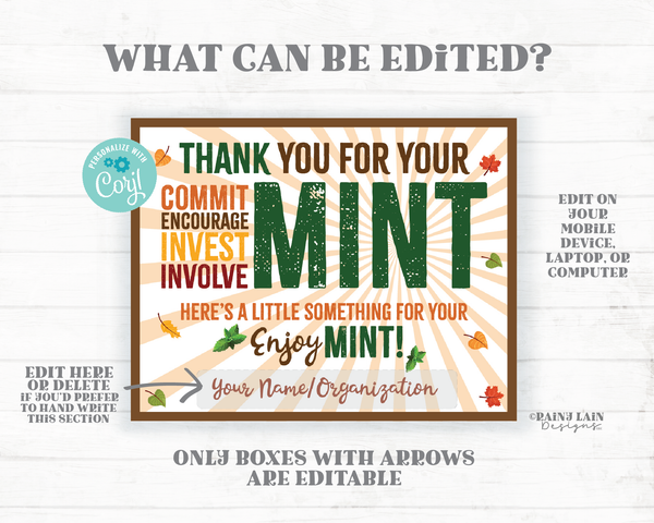Fall Mint Gift Tag Employee Appreciation Company Volunteer Co-Worker Staff Corporate Teacher Mint Thank you Tag Mint Label Mint Favor Leaves