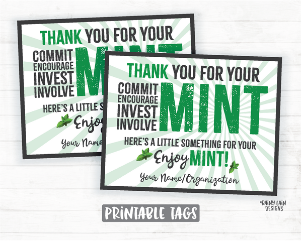 Mint Gift Tags Employee Appreciation Company Volunteer Co-Worker Staff Corporate Teacher Mint Thank you Tags Mint Labels Mint Favor Tags