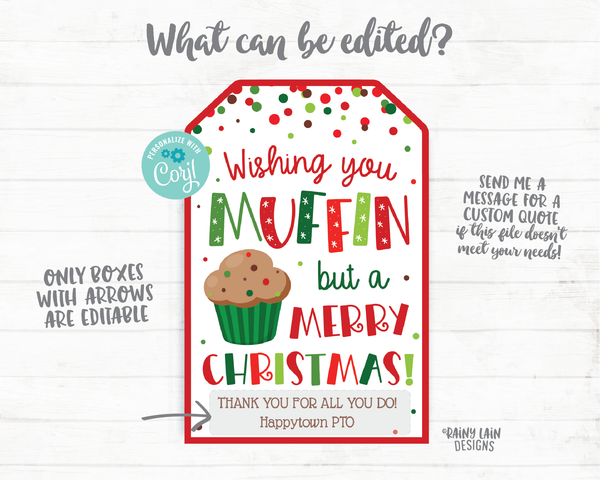 Wishing you Muffin but a Merry Christmas Tags Christmas Gift Tag Homemade Muffins Tags Holiday Gift Teacher Coach Staff Co-worker Neighbor
