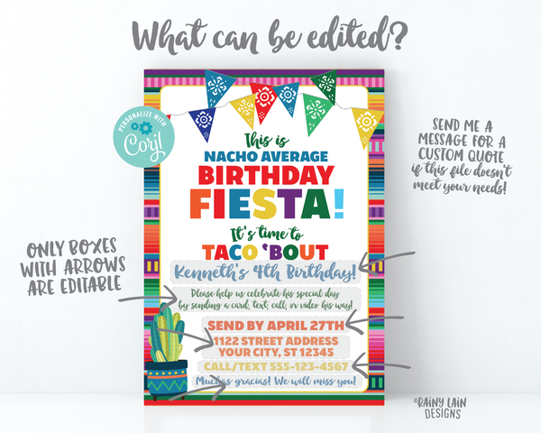 Nacho Average Birthday Fiesta Invitation, Virtual Fiesta, Birthday by Mail, Taco Bout Quarantine Party Stay at Home Party, Social Distancing