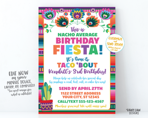 Nacho Average Birthday Fiesta Invitation, Birthday by Mail, Virtual Fiesta, Taco Bout Quarantine Party Stay at Home Party, Social Distancing