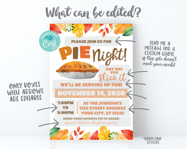 Pie Night Invitation, Pie Fundraiser Flyer, Pie and Wine, Pie and Cocktails Friendsgiving Thanksgiving Pie Making Contest Pie Eating Contest