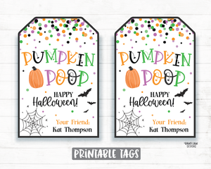 Pumpkin Poop Tags Halloween Tags Printable Halloween Tag Editable Halloween Favor Tags Pumpkin Party Favor Tags Boo Spiders Bats Spiderweb
