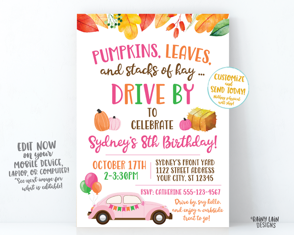 Fall Drive By Birthday Invitation Autumn Drive By Birthday Party Fall Leaves Autumn Leaves Drive Through Girl Pumpkins Leaves Stacks of Hay