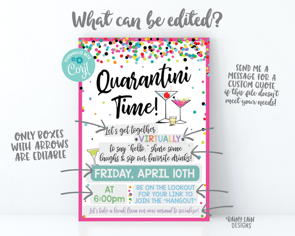 Quarantini Time Invitation, Virtual Girls Night Invite, Virtual Happy Hour, Virtual Lady Date Invitation, Video Chat Social Distancing Party
