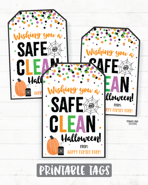 Wishing you a safe and clean halloween Tags Printable Halloween Tag Editable Hand Sanitizer Tags Halloween 2020 Ideas Halloween Gift tags