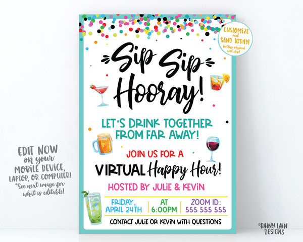 Virtual Happy Hour Invitation, Sip Sip Hooray Let's Drink Together from Far Away, Virtual Party Invitation, Quarantini, Social Distancing