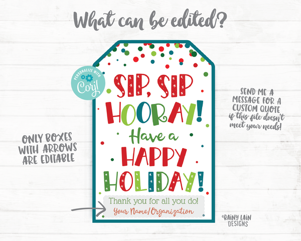 Sip Sip Hooray Have a Happy Holiday Tag Christmas Gift Tag Employee Staff Thank you Teacher Appreciation Wine Beer Liquor Drink Spirits
