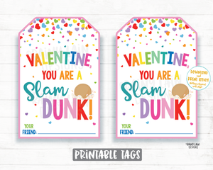 Slam Dunk Cookies Valentine Tag, Girl Basketball aroos Cookies and Frosting Preschool Valentines Classroom Printable Valentine Tags