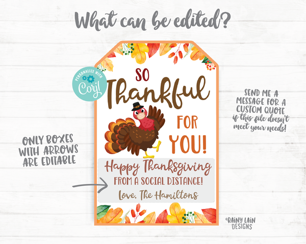 So Thankful For You Thanksgiving Tags Social Distance Face Mask Gift Tag Employee Appreciation Tag Company Essential Staff Corporate Teacher