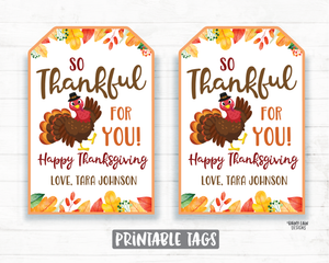 So Thankful For You Gift Tags Thanksgiving Favor Tags Employee Appreciation Tag Company Essential Staff Hostess Teacher Thank you Tag Fall