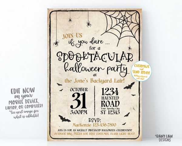 Spooktacular Halloween Party Invitation, Backyard Halloween Party, Social Distancing Halloween party Invite, Outside halloween, spiders bats