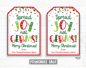 Spread Joy Not Germs Hand Sanitizer Christmas Gift Tag Holiday Tags Employee Appreciation Company Essential Worker Staff Corporate Teacher