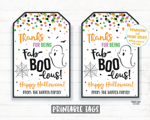Thanks for being Fab BOO Lous Tag Halloween Thank you Tags Halloween Gifts Tags Halloween Appreciation Favor Teacher Staff Employee School