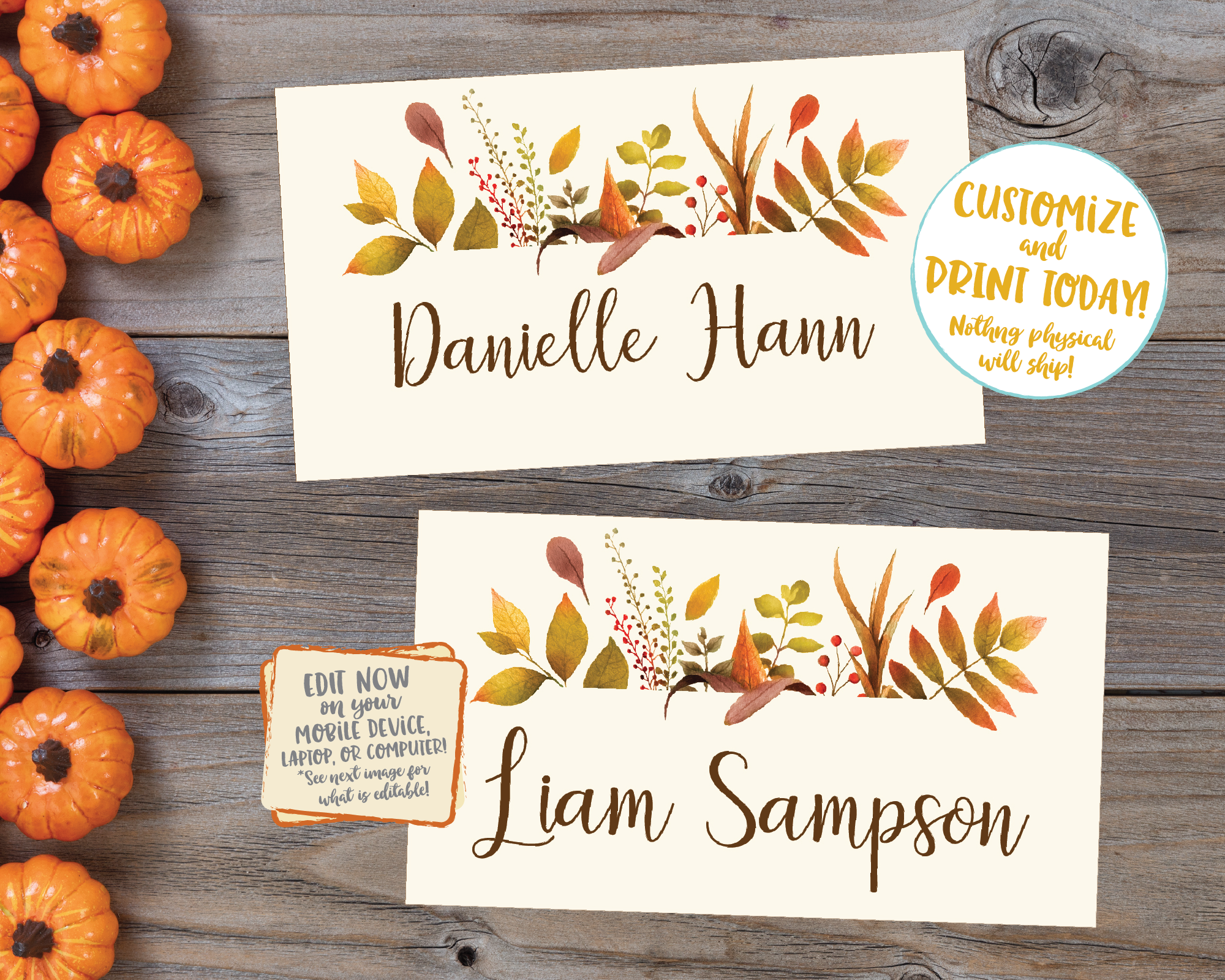 Editable Thanksgiving Place cards, Thanksgiving Name cards Thanksgiving Placecards, Friendsgiving Place cards Printable Plaid Floral Leaves