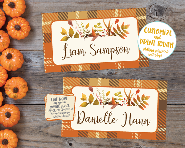 Editable Thanksgiving Place cards, Thanksgiving Placecards, Friendsgiving Place cards Printable Thanksgiving Place cards Plaid Floral Leaves Name Cards
