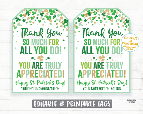 Thank You for all you do St Patrick's Day Gift Tag Shamrocks Staff Appreciation Friend Co-Worker Frontline Worker Employee Teacher Principal