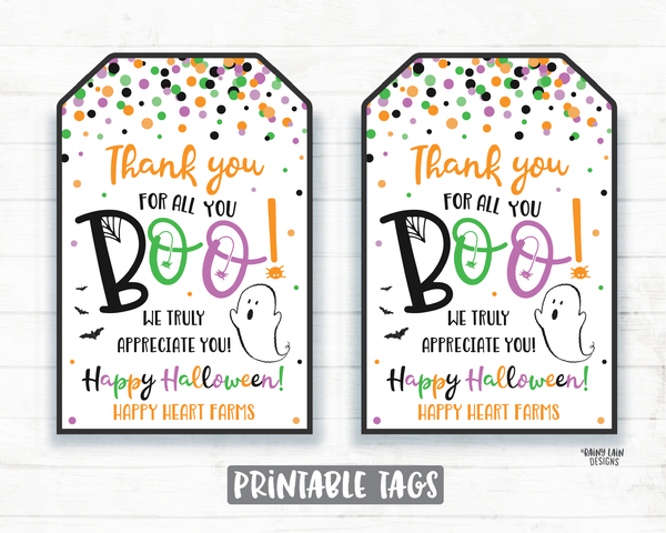 Thank you for all you boo Tag Halloween Tag Printable Halloween Tag Editable Favor Tag Halloween thank you tag Employee Teacher Staff School
