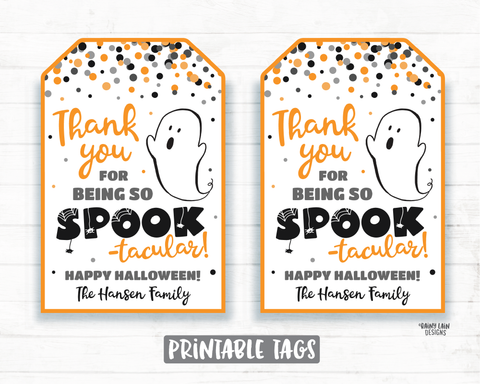 Thanks for being Spook-tacular tag Halloween Thank you Tags Gifts Tags Appreciation Favor Tags Teacher Staff Employee School Spooktacular