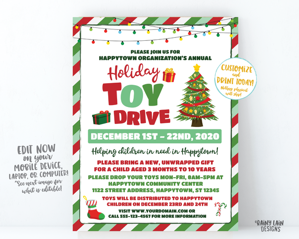 Holiday Toy Drive Flyer, Christmas Toy Drive Flyer, Toy Drive Flier Fundraiser Invitation Information Card Digital Flyer Editable DIY