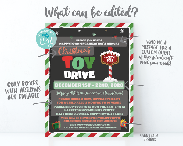 Christmas Toy Drive Flyer, Holiday Toy Drive Flyer, Toy Drive Flier Fundraiser Invitation Information Card Digital Flyer Editable DIY