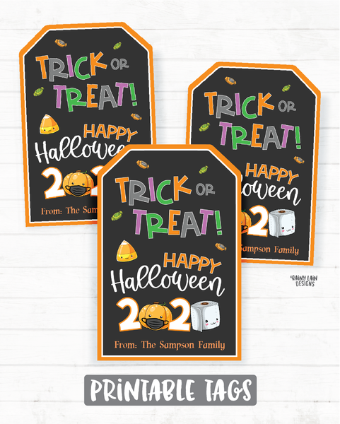 Trick or Treat Happy Halloween Tags Halloween 2020 Tags Printable Halloween Tag Editable Sanitizer Party Favor Tags Mask Social Distancing
