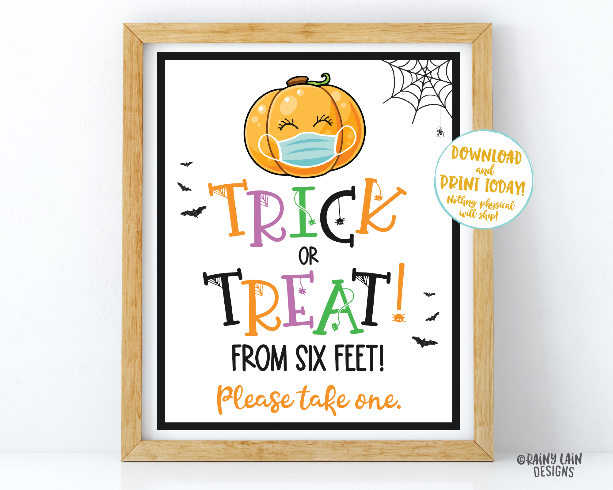 Trick or Treat From 6 Feet Sign Halloween Sign Trick or Treat Table Sign Quarantine Social Distancing 2020 Halloween Please take one sign